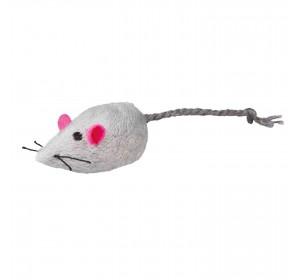 Ratón Peluche Con Cascabel, 5 Cm, 2 Uds, Bl./Gris
